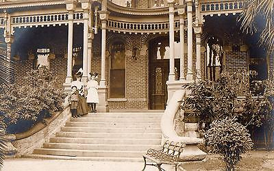 Antique 1910 Woman & 2 Children on Steps of Large House RPPC Real Photo Postcard