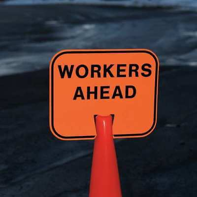 TAPCO 535-00066 Traffic Cone Sign, Orng/Blk, Workers Ahead