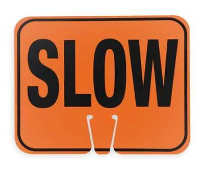 ZORO SELECT 03-550-S Traffic Cone Sign,Blk/Orng,Slow Traffic
