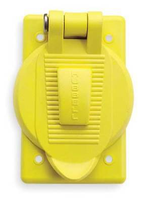 HUBBELL WIRING DEVICE-KELLEMS HBL74CM25WOA Weatherproof Cover, Vertical, Yellow