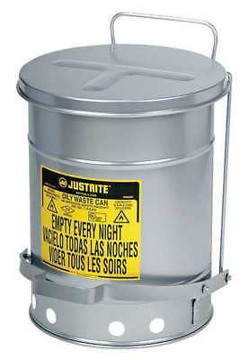 Oily Waste Can,14 Gal.,Steel,Silver JUSTRITE 09504