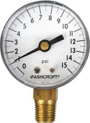ASHCROFT 1005PH Gauge, Pressure, 0 to 15 psi, Lower