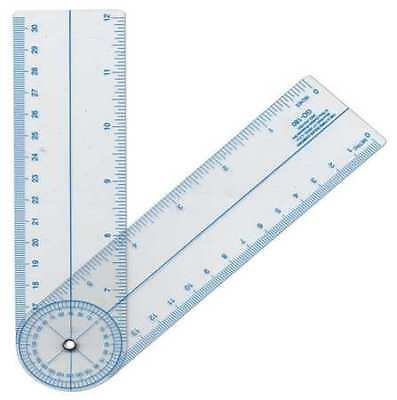 WESTCOTT GO-180 Protractor,Inch and Metric Scales,PVC