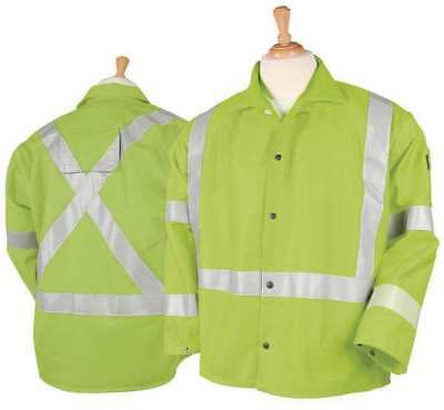 Black Stallion Flame Resistant Jacket, Hi-Vis Lime, Cotton, L, JF1012-LM