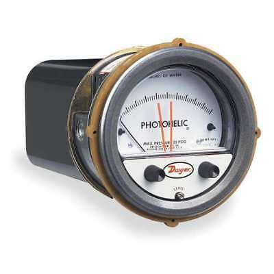 DWYER INSTRUMENTS A3010AV Pressure Gauge, 0 to 10 In H2O