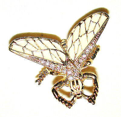 Vintage Art Nouveau Moth Flying Insect Pin Cream W Gilded Veined Wings Sphinx