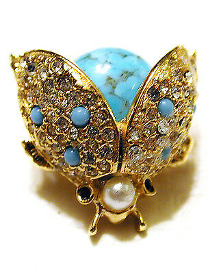 Vintage Ladybug Pin Turquoise Cab Belly Pave Rhinstone Wings Pearl Head Sphinx