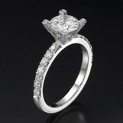 2.20 CT Solitaire Round Enhanced Diamond Engagement Ring 14K White Gold D/VS2