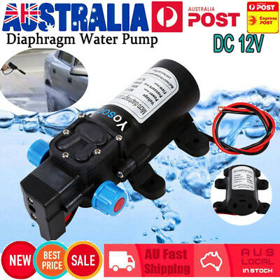 60W 12V 80PSI Water Pump High Pressure 5Lpm Self-Priming Caravan Camping Boat AU