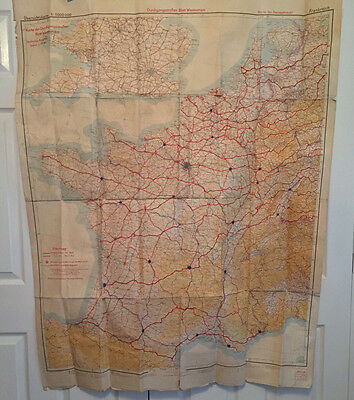 Ww2 German Wehrmacht Hq.map Of Western Europe April1943 Showing Refuelling Stops