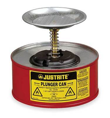 Plunger Can,1 qt.,Galvanized Steel,Red JUSTRITE 10108