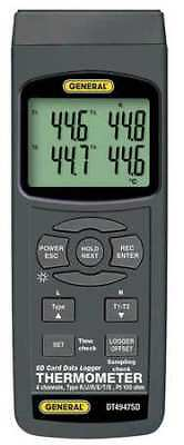 GENERAL DT4947SD Thermocouple Thermometer, Type K, 4 Inputs