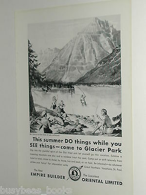 1931 Great Northern Railway advertisement, Lake McDonald Mt Cannon, Glacier Park