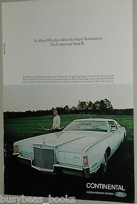 1972 Lincoln CONTINENTAL advertisement, LINCOLN Continental Mark IV