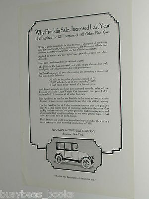 1918 Franklin Automobile advertisement page, Franklin Auto Co, of Syracuse NY