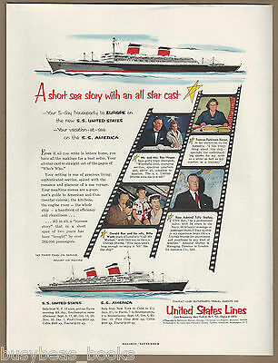 1954 UNITED STATES LINES advertisement, SS United States, SS America