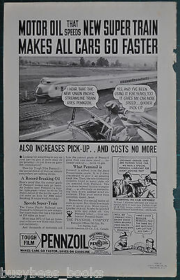 1934 PENNZOIL advertisement, motor oil, with Union Pacific M10000
