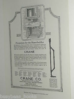 1920 Crane Company advertisement page, retro bathroom sink, drainage pipes