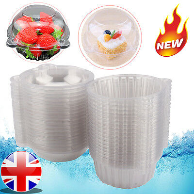 100XCat Cupcake Holder Clear Plastic Single Muffin Case Box Pods Fruit container