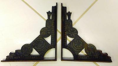 Pair of Antique Cast Iron Shelf Brackets, Aztec Design