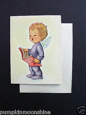 #F615- Vintage Unused Ars Sacra 1946 Xmas Greeting Card Sweet Angel Singing