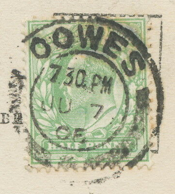 """2404 """"OOWES / +"""" (COWES / +) double ring (26 mm) – very rare POSTMARK-ERROR 1906"""