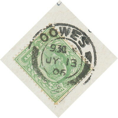 """2404 """"OOWES / +"""" (COWES / +) double ring (26 mm) MULTIPLE POSTMARK-ERROR 1906"""