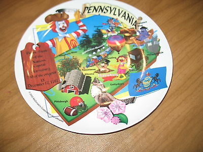 "Pennsylvania McDonald's Plate Sun Coast 2005 Birth State 9 1/2"" EUC"