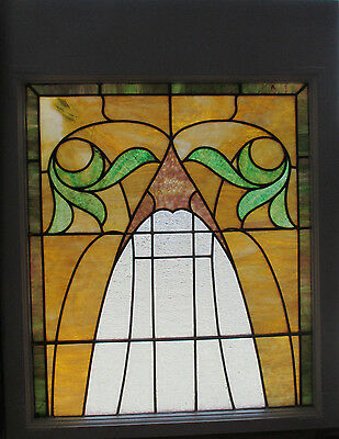ANTIQUE AMERICAN STAINED GLASS WINDOW 28 x 35 2 OF 2  ~ ARCHITECTURAL SALVAGE ~