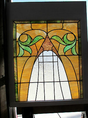ANTIQUE AMERICAN STAINED GLASS WINDOW 28 x 35 1 OF 2  ~ ARCHITECTURAL SALVAGE ~