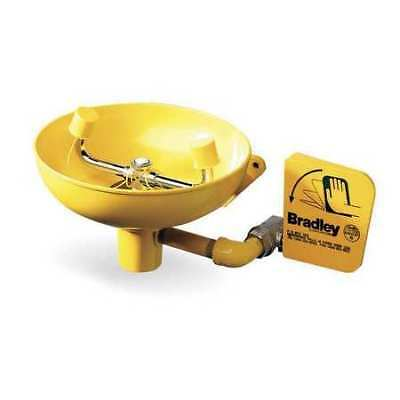 BRADLEY S19-220 Classic Wall-Mounted Eyewash Station with Plastic Bowl in Yellow