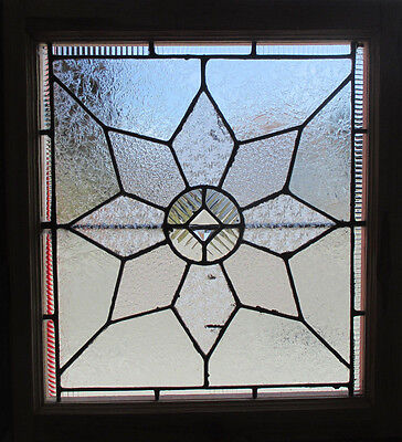 ANTIQUE AMERICAN STAINED GLASS WINDOW 24 x 26  ~ ARCHITECTURAL SALVAGE ~