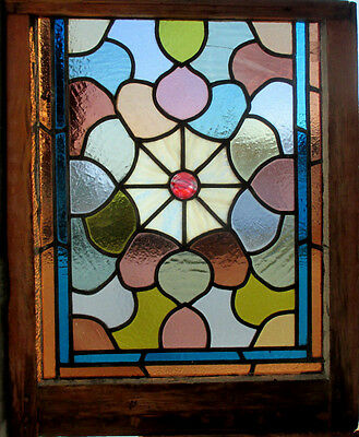 ANTIQUE AMERICAN STAINED GLASS WINDOW 21 x 26  ~ ARCHITECTURAL SALVAGE ~