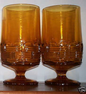 RARE HTF Smith Glass Wicker-Amber (2) Water Goblets ca. 1975 Vintage