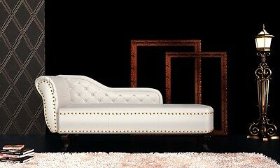 Chesterfield Recamiere Chaiselongue Lounge Sofa Chaise Relax Liege Cremeweiß #S