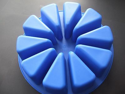 Silicone Mould Large Round 10 Segment/Slice/Wedge/Portion Wheel-Cake Tin/Soap