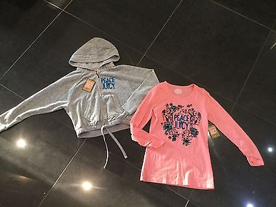 NWT Juicy Couture New & Gen. Girls Age 8 Grey Velour Hoody & T-Shirt With Logos