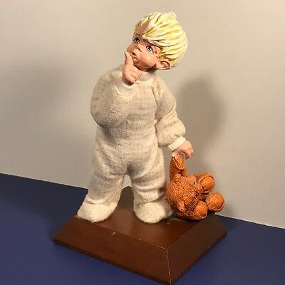 Vintage Simpich Figurine Statue 1980 Character Doll Chris Teddy Bear Shh Blonde