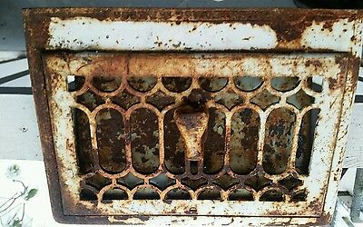 "Floor wall register grate  Victorian antique vent 10 x 16"" design cast iron 1915"