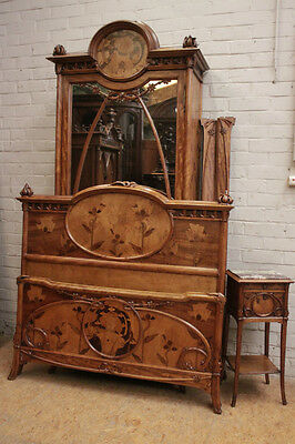 RARE and BEAUTIFUL Antique French Art Nouveau Bedroom STUNNING Inlaid Wood Decor