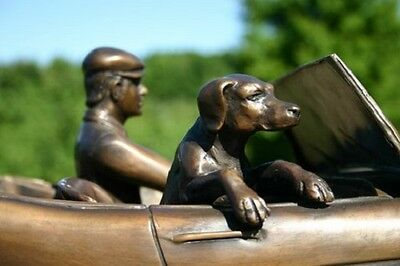 Bronze Austin Healey Sculpture 3000 MK III Man Dog Marble Base Auto FLASH SALE 1