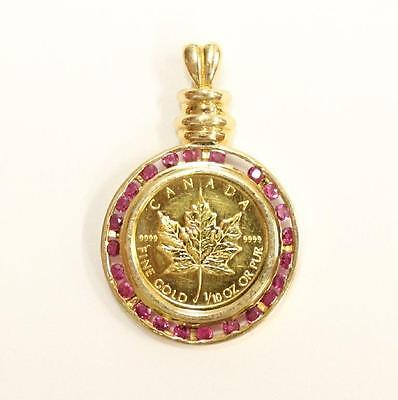 1/10th oz Canada Gold Maple Leaf coin 14K gold Pendant 23 Rubies 7.15 grams