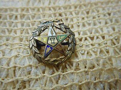 Antique Order Of Eastern Star Solid 10k Yellow Gold Free Mason Lapel Pin