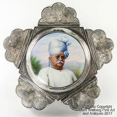 Indian India Silver Spice Box with Miniature Enamel Portrait, Stamped, 20th C.