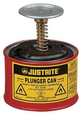 JUSTRITE 10008 Plunger Can, 1 pt., Galvanized Steel, Red