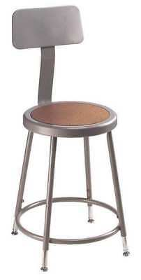 """National Public Seating Round Stool with Backrest, Height 25"""" to 30""""Gray, 6224HB"""