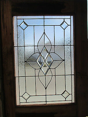 ANTIQUE AMERICAN STAINED GLASS WINDOW 30 x 40 ~ ARCHITECTURAL SALVAGE ~