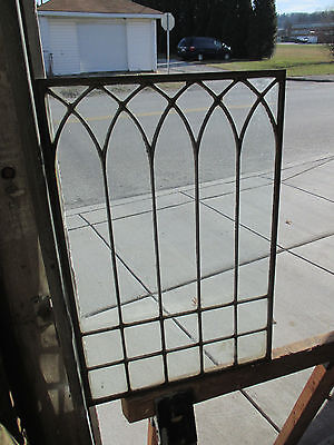 SMALL ANTIQUE AMERICAN STAINED GLASS WINDOW 18 x 27 ~ ARCHITECTURAL SALVAGE ~
