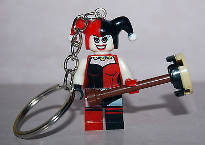 Crazy Harley Quinn  Keychain Key Ring  - Minifigure Suicide Squad