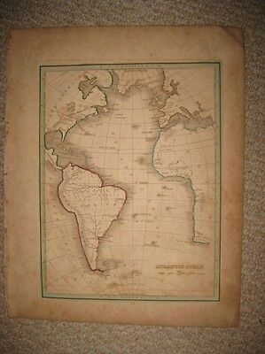 Antique 1835 Atlantic Ocean Hndclr Map Africa Europe United States South America